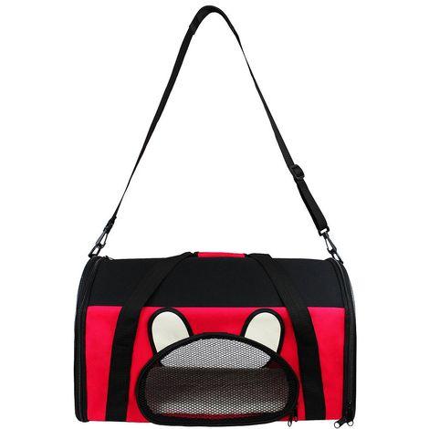 Bolsa de Transporte para Animales, Bolsa para Gatos y Perros, 50 x 31 x 29 cm, Rojo, Material: Material de malla, Poliéster