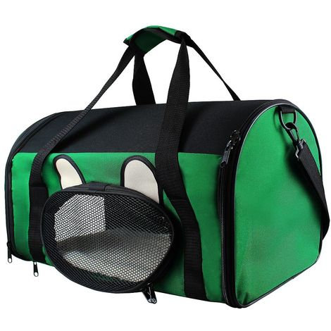 Bolsa de Transporte para Animales, Bolsa para Gatos y Perros, 50 x 31 x 29 cm, Verde, Material: Material de malla, Poliéster