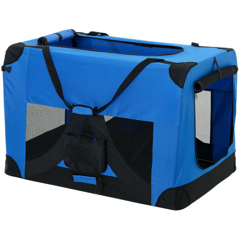 Bolsa de transporte para mascotas - Tamaño: L (70x52cm) - Transportín plegable para perro (azul añil)