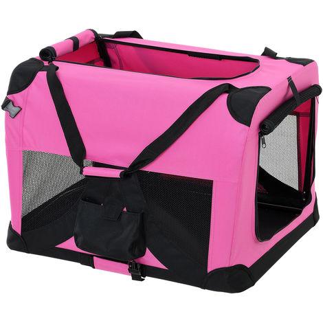 Bolsa de transporte para mascotas - Tamaño: S (49,5x34,5cm) - Transportín plegable para perro (ROSA)