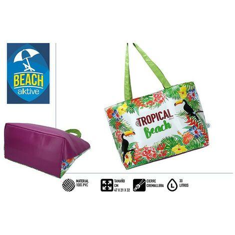 Bolsa Isotérmica, Nevera Portatil Playa con Asas. Cierre Cremallera 30 Litros, Tropical Beach 47x21x32 cm