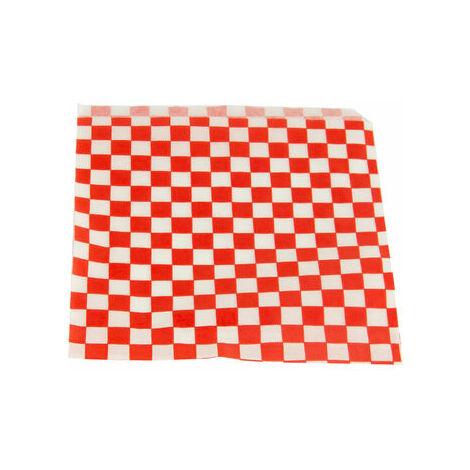 Bolsa Papel Celulosa Decorada Cuadros Rojos Abierta 2 Lados 160x165mm 500 Unidades