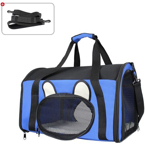 Bolsa para Gatos y Perros, Bolsa de Transporte para Animales, 50 x 31 x 29 cm, Azul, Material: Material de malla, Poliéster