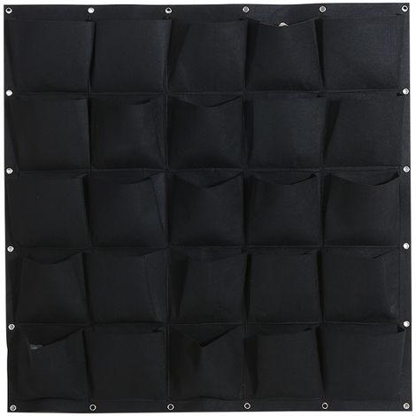 Bolsas de cultivo colgantes de fieltro, Jardinera vertical de pared,Negro, 25 bolsillos