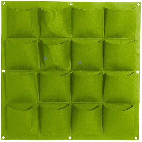 Bolsas de cultivo colgantes de fieltro, Jardinera vertical de pared,Verde, 16 bolsillos