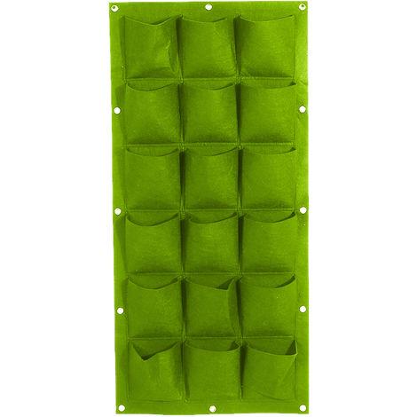 Bolsas de cultivo colgantes de fieltro, Jardinera vertical de pared,Verde, 18 bolsillos