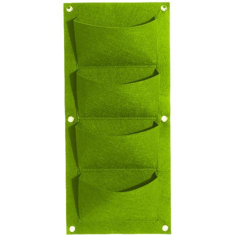 Bolsas de cultivo colgantes de fieltro, Jardinera vertical de pared,Verde, 4 bolsillos