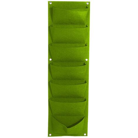 Bolsas de cultivo colgantes de fieltro, Jardinera vertical de pared,Verde, 7 bolsillos