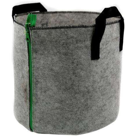 Bolsas de cultivo, con cierre de cremallera con asas, 5 galones,Gris, cremallera verde