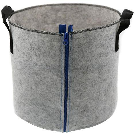 Bolsas de cultivo, con cierre de cremallera con asas, 5 galones,Gris,Cremallera azul