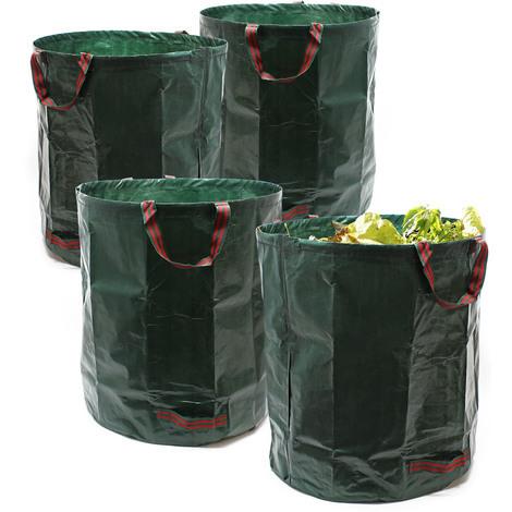 Bolsas jardín 4x Sacos Hojas Hierba Césped Basura Residuos 272L Jardinería Plantas Flores Árboles