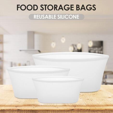 Bolsas reutilizables de silicona 3pcs almacenamiento de alimentos conservacion de alimentos bolsas de alimentos de contenedores estancos a los liquidos vegetales, negro, Tazon