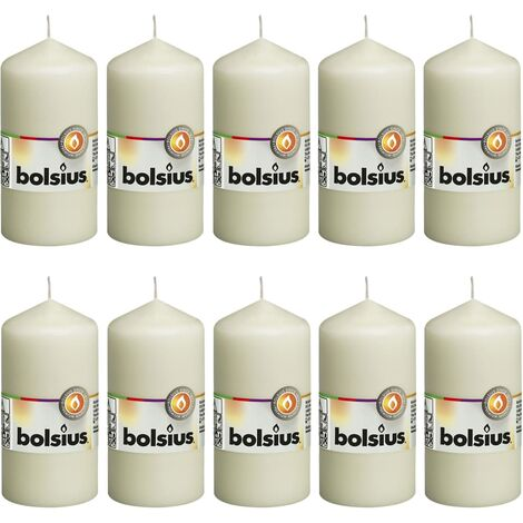 Bolsius Pillar Candles 10 pcs 120x58 mm Ivory - Cream
