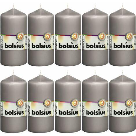Bolsius Pillar Candles 10 pcs 120x58 mm Warm Grey