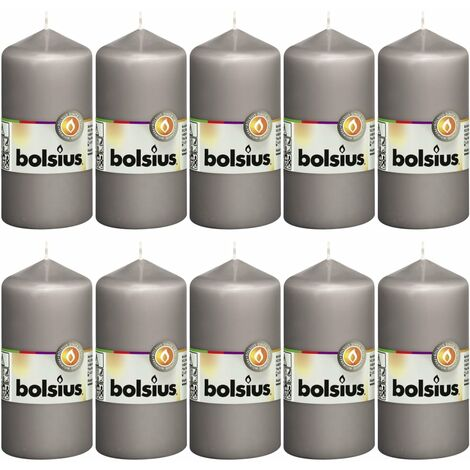 Bolsius Pillar Candles 10 pcs 120x58 mm Warm Grey - Grey