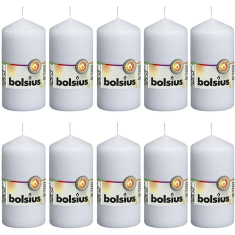Bolsius Pillar Candles 10 pcs 120x58 mm White - White