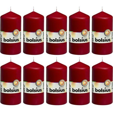 Bolsius Pillar Candles 10 pcs 120x58 mm Wine Red