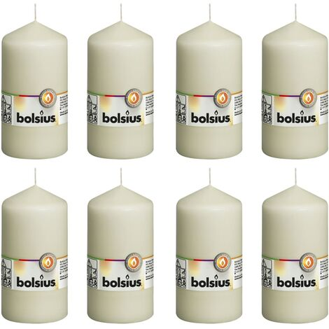 Bolsius Pillar Candles 8 pcs 130x68 mm Ivory - Cream