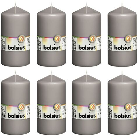 Bolsius Pillar Candles 8 pcs 130x68 mm Warm Grey - Grey
