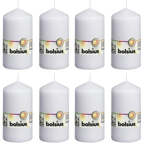 Bolsius Pillar Candles 8 pcs 130x68 mm White - White