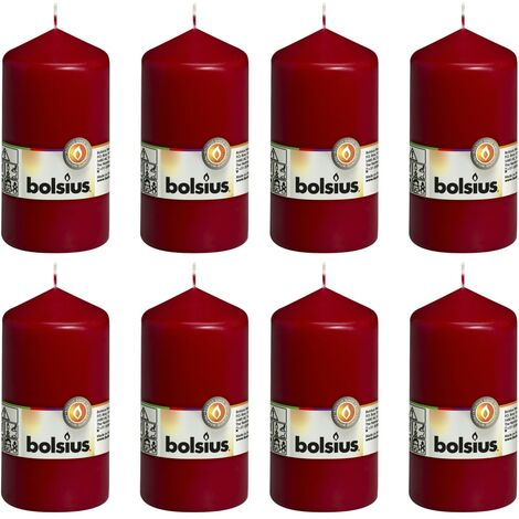 Bolsius Pillar Candles 8 pcs 130x68 mm Wine Red - Red