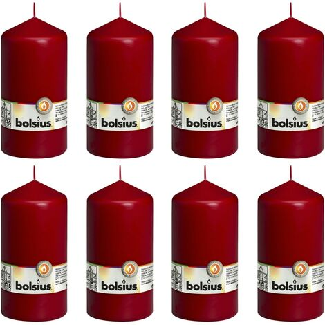 Bolsius Pillar Candles 8 pcs 150x78 cm Wine Red - Red