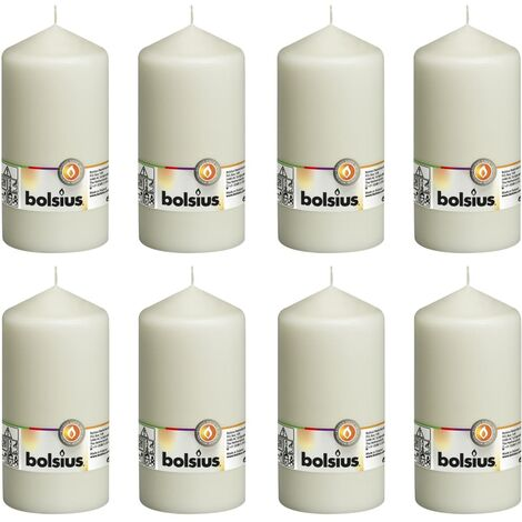 Bolsius Pillar Candles 8 pcs 150x78 mm Ivory - Cream