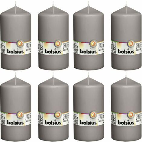 Bolsius Pillar Candles 8 pcs 150x78 mm Warm Grey