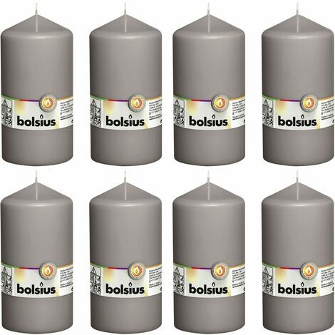 Bolsius Pillar Candles 8 pcs 150x78 mm Warm Grey - Grey