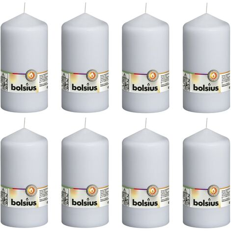 Bolsius Pillar Candles 8 pcs 150x78 mm White - White