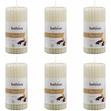 Bolsius Ribbed Pillar Scented Candles 6 pcs 120x58 mm Vanilla