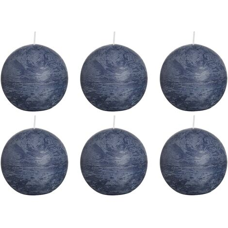 Bolsius Rustic Ball Candles 6 pcs 80 mm Dark Blue - Blue