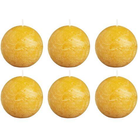 Bolsius Rustic Ball Candles 6 pcs 80 mm Ochre Yellow - Yellow