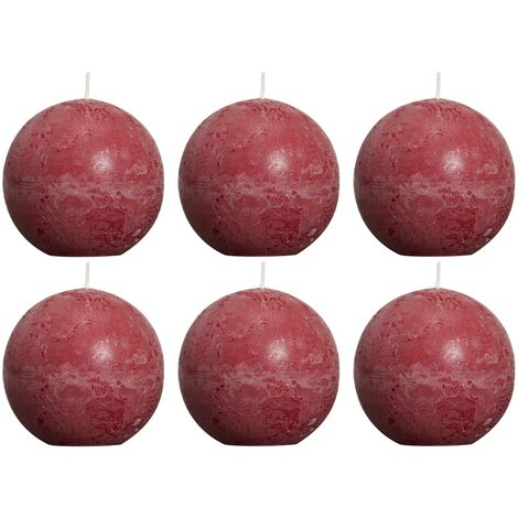 Bolsius Rustic Ball Candles 6 pcs 80 mm Wine Red - Red