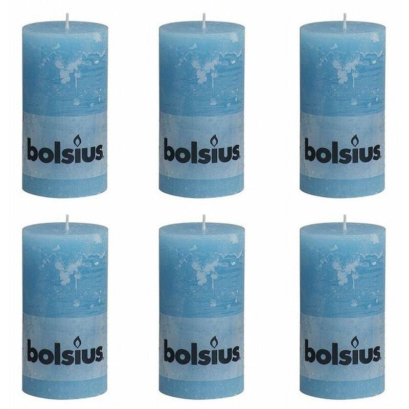 Image of Rustic Pillar Candle 130 x 68 mm Aqua 6 pcs - Bolsius