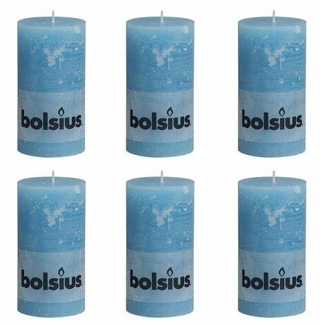 Bolsius Rustic Pillar Candle 130 x 68 mm Aqua 6 pcs - Blue