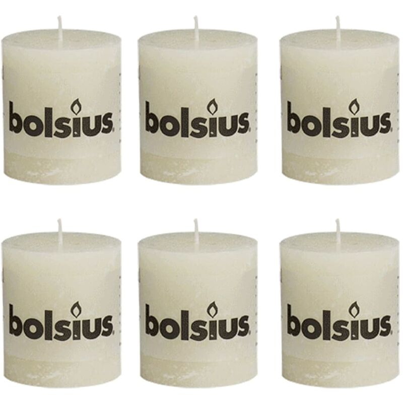 Image of Rustic Pillar Candle 80 x 68 mm Ivory 6 pcs - Bolsius