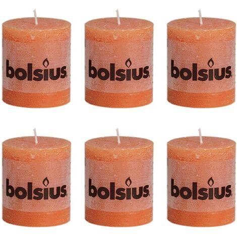 Bolsius Rustic Pillar Candle 80 x 68 mm Orange 6 pcs - Orange