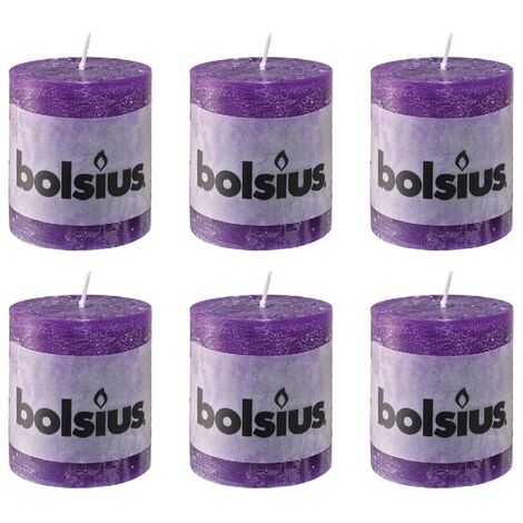 Bolsius Rustic Pillar Candle 80 x 68 mm Purple 6 pcs