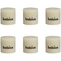Bolsius Rustic Pillar Candles 6 pcs 100x100 mm Ivory