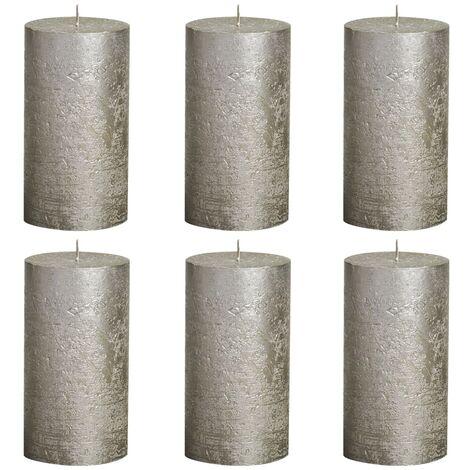 Bolsius Rustic Pillar Candles 6 pcs 130x68 mm Champagne - Grey