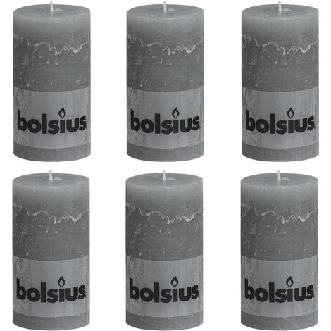 Bolsius Rustic Pillar Candles 6 pcs 130x68 mm Light Grey - Grey