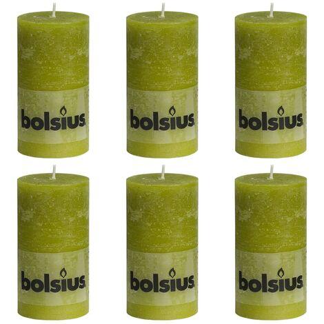 Bolsius Rustic Pillar Candles 6 pcs 130x68 mm Moss Green - Green