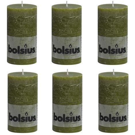 Bolsius Rustic Pillar Candles 6 pcs 130x68 mm Olive - Green