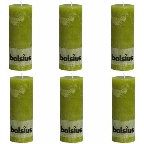 Bolsius Rustic Pillar Candles 6 pcs 190x68 mm Moss Green - Green