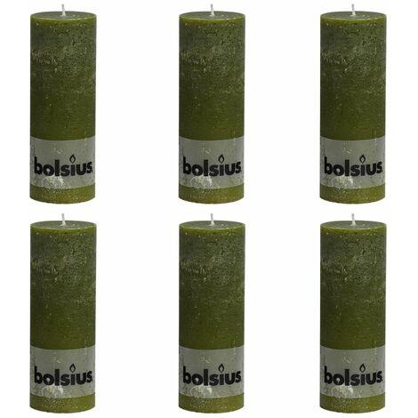 Bolsius Rustic Pillar Candles 6 pcs 190x68 mm Olive - Green
