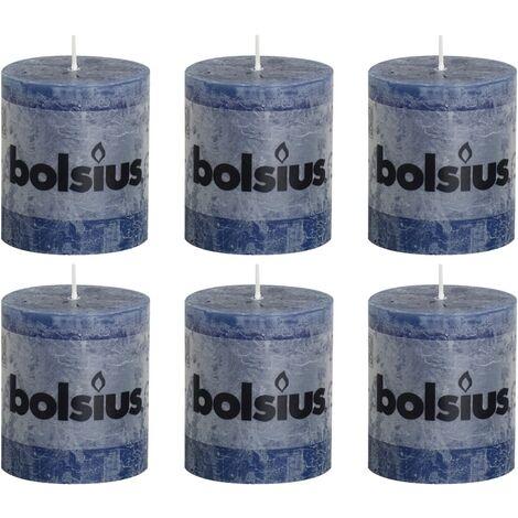 Bolsius Rustic Pillar Candles 6 pcs 80x68 mm Dark Blue - Blue