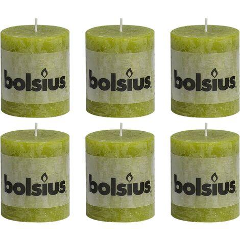 Bolsius Rustic Pillar Candles 6 pcs 80x68 mm Moss Green - Green