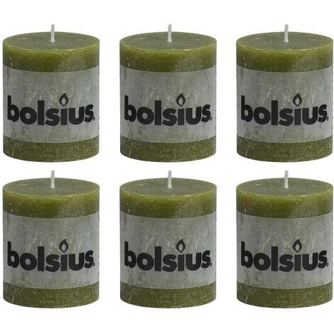 Bolsius Rustic Pillar Candles 6 pcs 80x68 mm Olive - Green