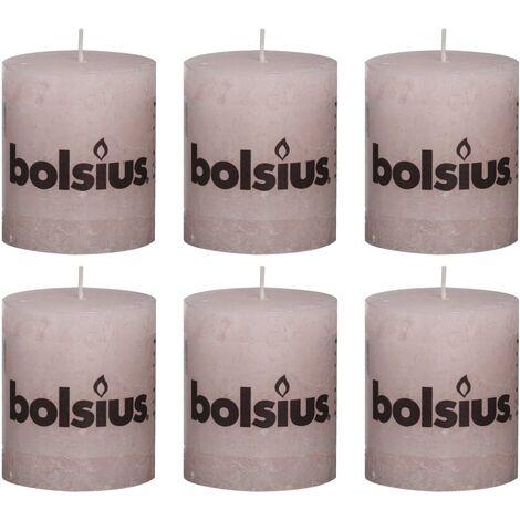 Bolsius Rustic Pillar Candles 6 pcs 80x68 mm Pastel Pink - Pink